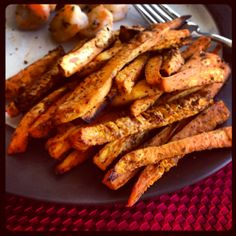 Really yummy sweet potato fries - don't forget to flip half-way through cooking!