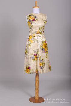 Vintage Mother of the Bride Dresses      1960's Nicholas Ungar Floral Jacquard Vintage Cocktail Dress : Mill Crest Vintage