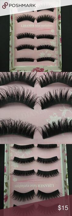 5 pairs of super long strip lashes 16mm Super long strip lashes ...brand new. NERVER worn. Comes with box. Makeup False Eyelashes