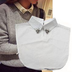 new women beaded detachable collar white pointed collar shirt false collar decorative collars(China (Mainland))
