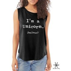 I'm a Unicorn Jealous Cap Sleeve Cotton Muscle Tee Shirt Alternative... ($20) ❤ liked on Polyvore featuring tops, black, tanks, women's clothing, black singlet, loose fitting tank tops, muscle t shirts, cotton tank and loose black shirt