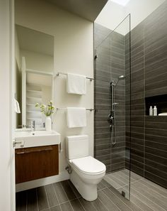 Sustainable glass dwelling in Sonoma County: Marra Road Bathroom Design Small, Simple Bathroom, Modern Bathroom, Bathroom Ideas, Sonoma County, Bathroom Renovations, Home Renovation, Walk In Shower Designs, Toilet Design