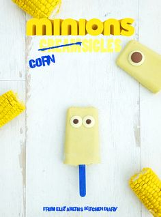 Minions Cornsicles. Delicious coconut milk popsicles with hidden sweetcorn! Great for picky eaters!
