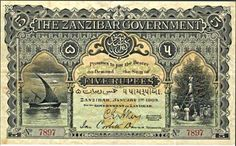 Zanzibar 5 Rupees money note during the reign of H.H Sayyid Ali bin Hamoud bin Mohammed Al Said. The Sultan of Zanzibar 1902 - Money Notes, Stone Town, Bank Of India, Ancient Architecture, Travel And Tourism, East Africa, Silver Coins, Vintage World Maps, African