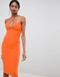 DESIGN strappy underwire bodycon midi dress - Orange / UK 4 - Google Search Orange Uk, Google Search, Formal Dresses, Design, Fashion, Dresses For Formal, Moda, Formal Gowns, Fashion Styles