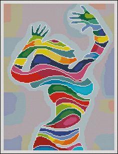 Abstract Girl (Cross Stitch &Needlepoint): A Cross Stitch Chart by Paula's Patterns Tiny Cross Stitch, Beaded Cross Stitch, Cross Stitch Designs, Cross Stitch Embroidery, Cross Stitch Patterns, Needlepoint Patterns, Tapestry Crochet, Beading Patterns, Fractal Patterns