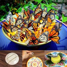 How to make a butterfly feeder, DIY - Diy Garden Projects Diy Garden, Dream Garden, Garden Projects, Garden Art, Garden Landscaping, Garden Design, Garden Kids, Spring Garden, Diy Projects