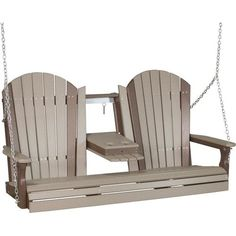 LuxCraft Adirondack Recycled Plastic Porch Swing with Flip Down Center Console - Lead Time 14 Business Days Pool Furniture, Best Outdoor Furniture, Rustic Furniture, Pallet Furniture, Furniture Plans, Patio Swing, Swing Seat, Porch Swings, Swing Design
