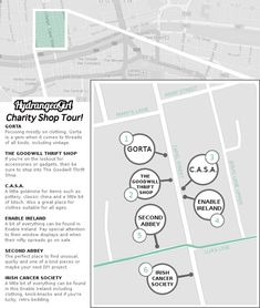 Charity/Thrift Shop Map Dublin by Hydrangea Girl.