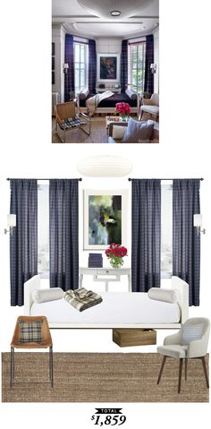Sophisticated bachelor pad in plaid featured in House Beautiful recreated for $1,859 by @audreycdyer for Copy Cat Chic