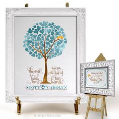 Wedding Guest Book Tree - FREE OVERNIGHT SHIPPING - Watercolor Heart Tree 100 Leaves - Family Tree Word Art Quote - Free 5x7 print included by SoScripted on Etsy https://www.etsy.com/listing/220032414/wedding-guest-book-tree-free-overnight