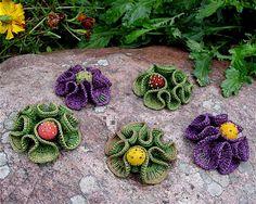 Crocheted 3-D Flower hair clip or brooch