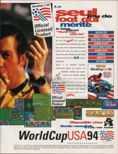 """World Cup USA '94 for (hold your breath) Mega-CD, Mega Drive, Master System, Game Gear, Super Nintendo, Game Boy, Amiga, IBM PC and CD-Rom (is """"CD-Rom"""" a platform gaming?) (France, U.S. Gold, July 1994)"""