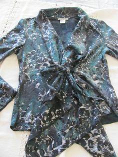 ALBERTO MAKALI WRAP BLOUSE Shirt Ties MEDIUM Green Black Silver NEW  Sweater #AlbertoMakali #Blouse #Career