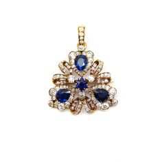 - Late 19th century sapphire and diamond trefoil cluster pendant brooch by Tiffany, c.1890