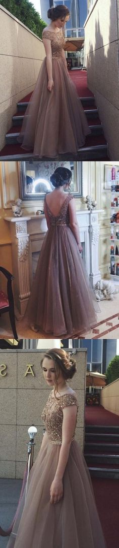 A-Line Bateau Cap Sleeves Backless Floor-Length Brown Prom Dress with Beading M1104#prom #promdress #promdresses #longpromdress #promgowns #promgown #2018style #newfashion #newstyles #2018newprom#eveninggown#capsleeve#backless#brownpromdress#beadingdress
