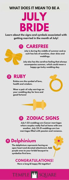 These wedding symbols for july brides are just perfect! Lucky couples who get married this month! Click to find out more about what it means to get married in July! | July Wedding | July Bride | Summer Wedding | Wedding Planning | www.templesquare.com/weddings/blog