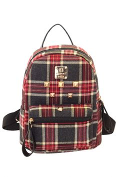 Plaid Gold Stud Canvas Backpack