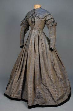 DRESS CONSTRUCTED of LATE 18th - EARLY 19th C SILK, 1850s