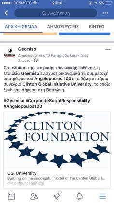 Στο πλαίσιο της εταιρικής κοινωνικής ευθύνης, η εταιρεία Geomiso ενίσχυσε οικονομικά τη συμμετοχή υποτρόφου του Angelopoulos 100 στο δέκατο ετήσιο συνέδριο @clintonglobal, το οποίο ξεκίνησε σήμερα στη Βοστώνη. #Geomiso #CorporateSocialResponsibility #Angelopoulos100
