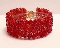 Red tones crystal bracelet, girlfriend gift £21.00