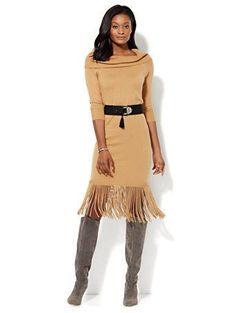 Lucille Mae: NY & Company's Fringed Midi Sweater Dress