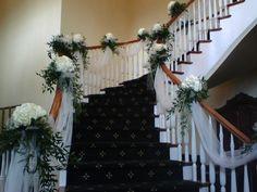 Door Decorations For Home Wedding 24 Ideas Wedding Staircase Decoration, Wedding Stairs, Christmas Stairs Decorations, Wedding Decorations, Wedding Ceremony, Reception, Home Wedding, Trendy Wedding, July Wedding