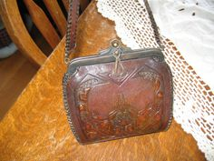 Antique Tooled Leather Purse -  A. H. R. Cameo Quility Purse - J F M Com. Purse - Art Deco Purse