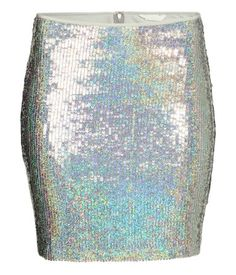 Silver-colored. Short, sequined mesh skirt with visible zip at back. Lined.