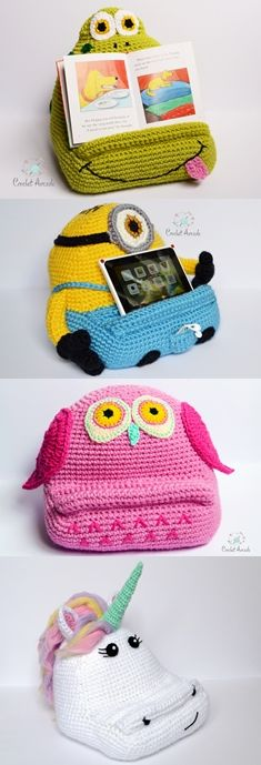 Fun Crochet Idea for a gift. Crochet book tablet holder patterns. Crochet Frog, crochet owl, crochet Unicorn, crochet Stuart.