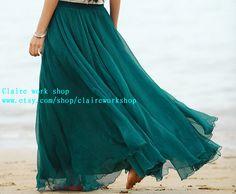 Handmade Bohemia Beach teal green dress chiffon by claireworkshop