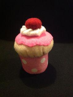 Handmade felt cupcake pincushion