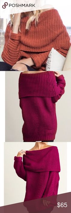 ❣️DISCOUNT SHIP TIL 11 CST BRICK FOLD OVER SWEATER A beautiful brick/rust color. This sweater is a cotton blend loose and comfy sweater. Looks great with leggings or skinny jeans! The model is wearing a small. Available in magenta and brick. Sweaters