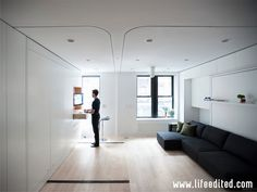 LifeEdited Apartment the living room and home office - Minimalist living spaces Small Space Living, Small Spaces, Living Spaces, Living Room, Appartement New York, New York City Apartment, Manhattan Apartment, Ventilation System, Design Your Life