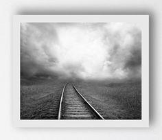 Railroad Train Track Print Black White by MaxMeOneUniverse on Etsy