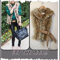 """New York & Co Faux Fur Cheetah Print Belted Vest New York & Co Faux Fur Cheetah Print Belted Vest.  The back of vest is a sweater knit.  Great shape!  Acrylic/Polyester blend.  Large luscious collar that can be pulled up for extra warmth.  Belted with a tan 2"""" wide belt.  Large hook and eye closures in front.  Length 21"""".  Sweater knit allows stretch for a comfortable fit.  Versatile print! #animal, #leopard. New York & Company Jackets & Coats Vests"""