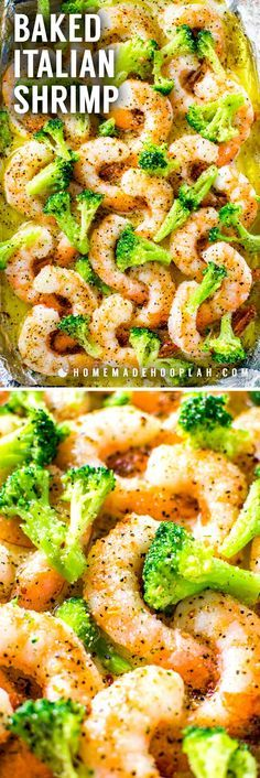 This extremely easy baked Italian shrimp dish is a perfect weeknight dinner for busy seafood lovers. With only four core ingredients, you can have tender shrimp in a buttery Ital Salmon Recipes, Fish Recipes, Seafood Recipes, Baked Shrimp Recipes, Egg Recipes, Healthy Dinner Recipes, Cooking Recipes, Healthiest Seafood, Shrimp Dishes