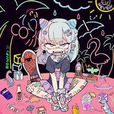 Arte Do Kawaii, Anime Kawaii, Kawaii Art, Kawaii Drawings, Cute Drawings, Aesthetic Anime, Aesthetic Art, Art And Illustration, Dessin Old School