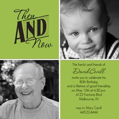 80th birthday invites | Then And Now Photo Squares 80th Birthday Invitation