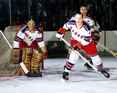 Jacques Plante, Al Langlois & Harry Howell - Rangers Hockey Shot, Women's Hockey, Montreal Canadiens, Field Goal Kicker, Rangers Hockey, Look At My, Goalie Mask, Madison Square, New York Rangers