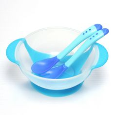 3 шт./компл. ребенок учится блюда с присоской помочь кормушки измерения температуры ложка детские посуда купить на AliExpress