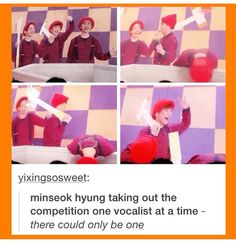 Minseok won't stop till he gets to the top. :0