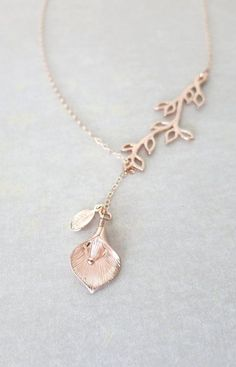 Rose Gold Branch Calla Lily Flower Leaf Lariat Y