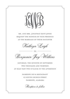 Sophisticated Monogram Wedding Invitation. #wedding #invitation #printable