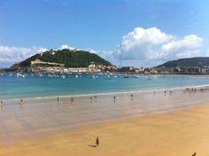 La Concha beach, San Sebastián. One of the most beautiful beach of the world. Urban beach in San Sebastian.