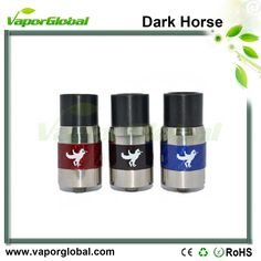 Carbon Fiber Dark Horse RDA Atomizer  1.Tri-post design for single/dual coil build 2.Posts material: Stainless steel + brass 3.AFC ring material: brass + carbon fiber 4.Air flow adjustable, 6 air holes on the ring 5.510 threading connector, adjustable brass 510 center pin