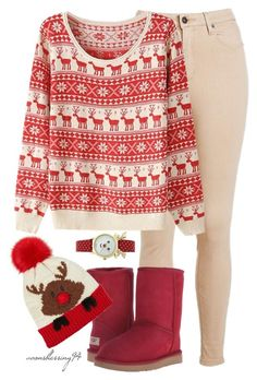 """Merry Christmas Everyone ❤"" by avonsblessing94 ❤ liked on Polyvore featuring UGG Australia, women's clothing, women's fashion, women, female, woman, misses and juniors"
