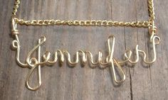 GOLD WIRE NAME of your choice by GLITTERBOXJEWELRY on Etsy, $22.00