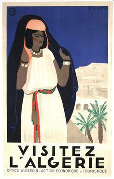 1930s Visit Algeria vintage travel poster