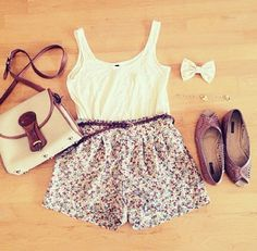 White top and floral shorts